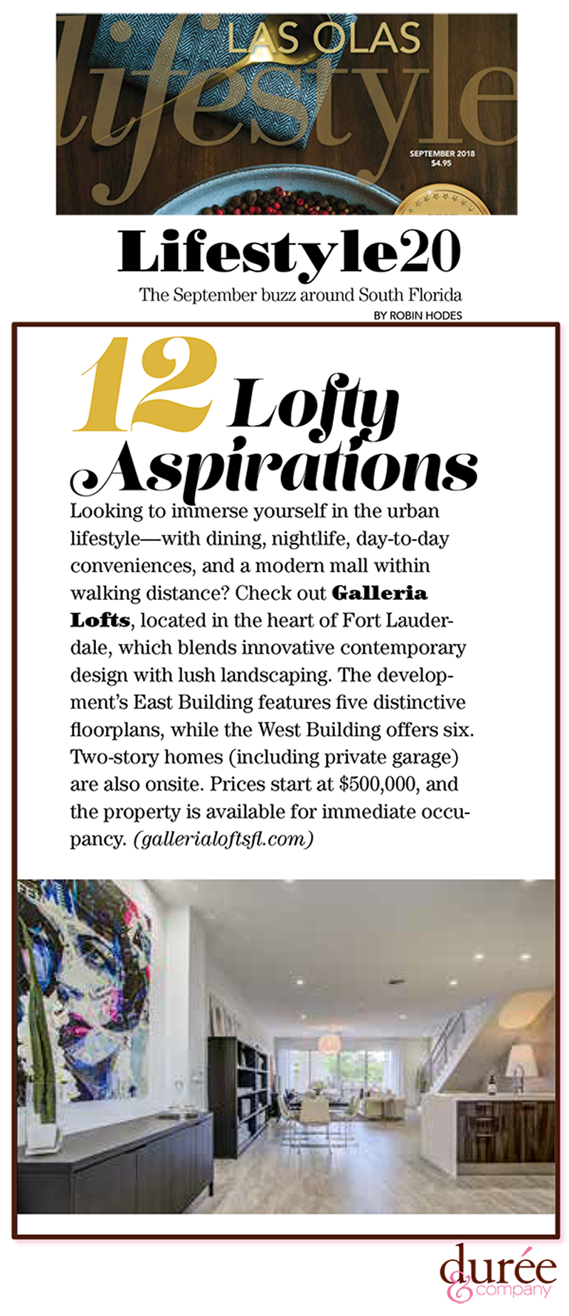 Lifestyle Magazine - SobelCo - Lifestyle 20-Lofty Aspirations - September 2018 - Galleria Lofts