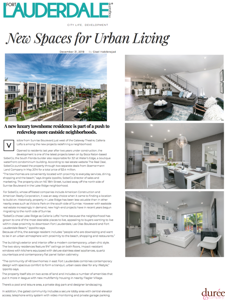 Fort Lauderdale Magazine - Galleria Lofts - New Spaces for Urban Living